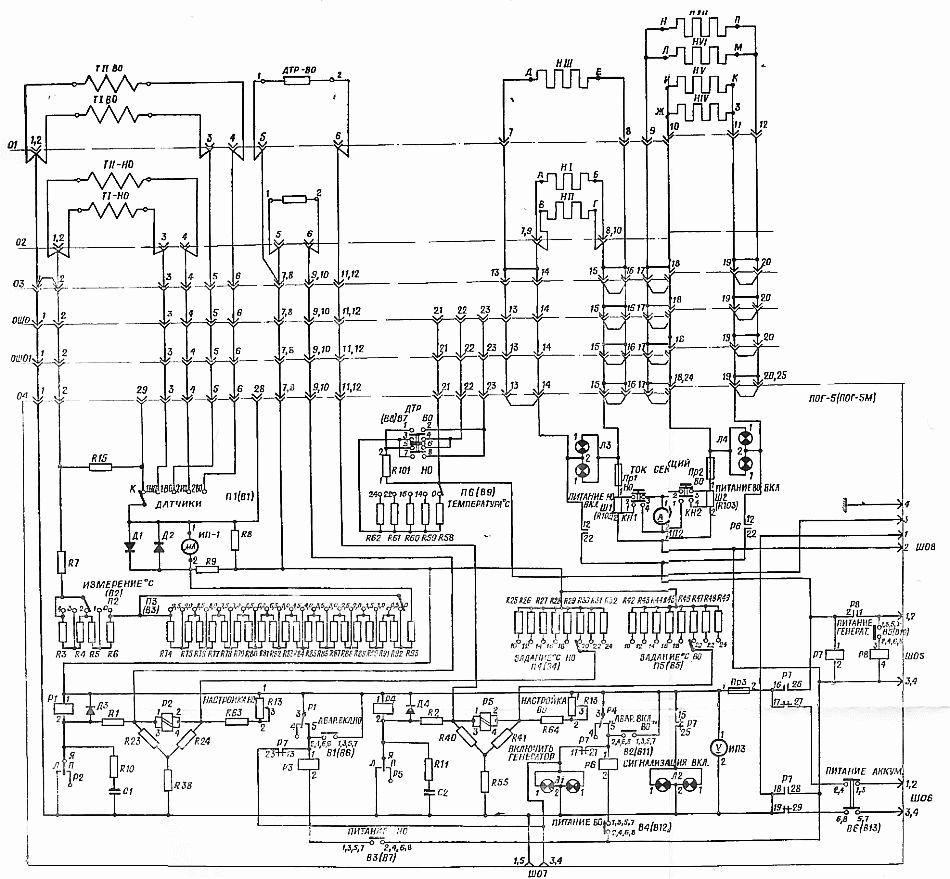 СхЭ-10А/8К14.  Принципиальная электрическая схема обогрева с ПОГ-5.